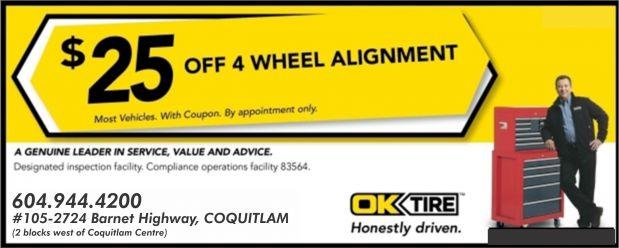 Wheel Alignment 25 00 Off At Ok Tire Auto Repair Coupons Port