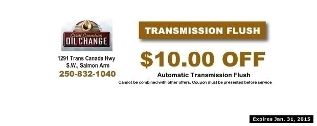 Transmission Flush $10 00 Off at Great Canadian Oil Change