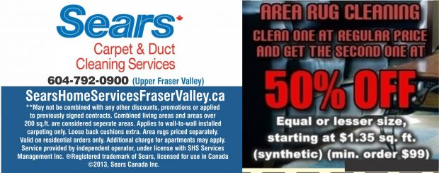 50% Off Area Rug Cleaning at Sears Carpet & Upholstery ...