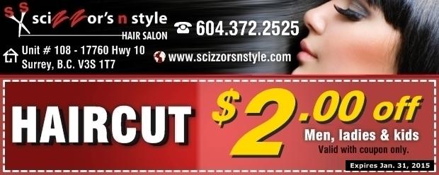 N Style Hair Salon: Haircut $2.00 Off At Scizzor's N Style Hair Salon