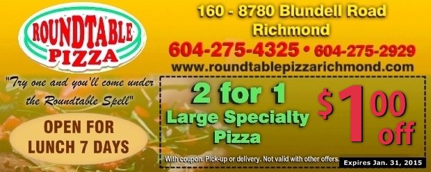 image about Round Table Pizza Printable Coupons titled $1.00 Off 2 For 1 Heavy Specialty Pizzas at Spherical Desk
