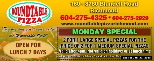 picture about Round Table Printable Coupons known as Monday Pizza Distinctive at Spherical Desk Pizza - Cafe
