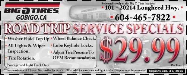 Road Trip Service 29 99 At Big O Tires Auto Repair