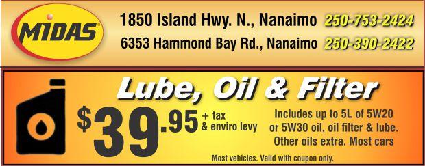 Midas Brake Coupons >> Oil Change 39 95 At Midas Auto Repair Coupons Nanaimo Bc