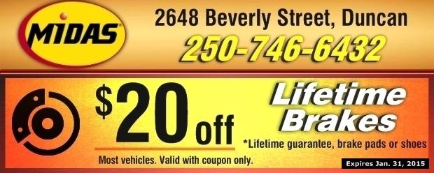 Midas Brake Coupons >> Brakes 20 00 Off At Midas Auto Repair Coupons Duncan Bc