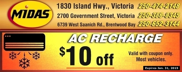 Coupons For Oil Change >> AC Recharge $10.00 Off at Midas - Auto Repair Coupons - Victoria BC - CouponsBC.ca