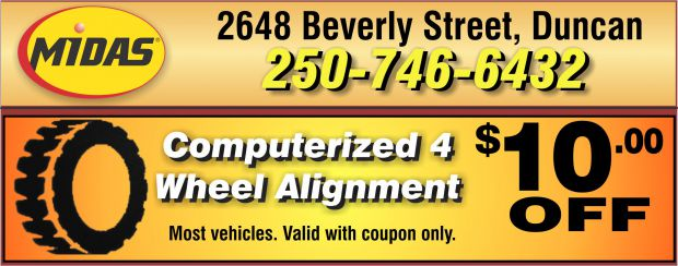 Wheel Alignment Coupons >> Wheel Alignment 10 00 Off At Midas Auto Repair Coupons Duncan