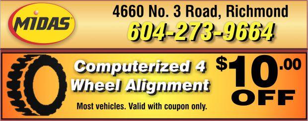 Wheel Alignment $10.00 Off at Midas - Auto Repair Coupons - Richmond BC - CouponsBC.ca