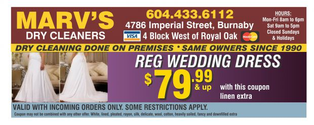 picture regarding Printable Dry Cleaning Coupons named Marriage Costume Cleansing $79.99 at Marvs Dry Cleaners