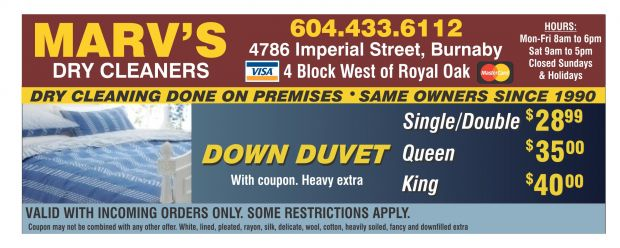 image about Printable Dry Cleaning Coupons named Duvet Dry Cleansing Towards $25.99 at Marvs Dry Cleaners