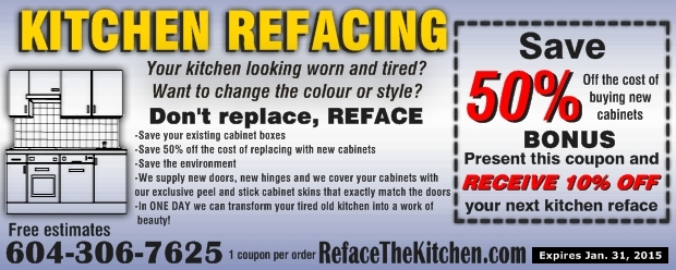 Kitchen cabinet refacing 50 off at reface the kitchen for Kitchen cabinets 50 off