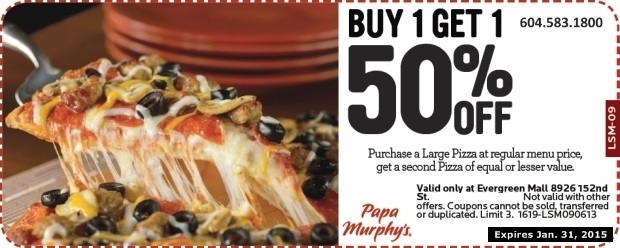 graphic about Papa Murphys Coupons Printable titled Pizza 50% Off at Papa Murphys Pizza - Cafe Discount coupons