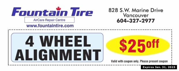 wheel alignment    fountain tire auto repair coupons richmond bc couponsbcca
