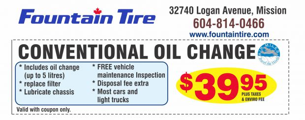 Oil Change $39.95 at Fountain Tire - Auto Repair Coupons - Mission BC - CouponsBC.ca