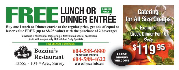 Restaurant Coupons Abbotsford Bc