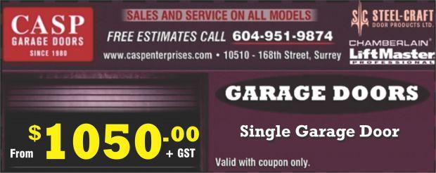 Single Garage Door 105000 At Casp Enterprises Ltd Home
