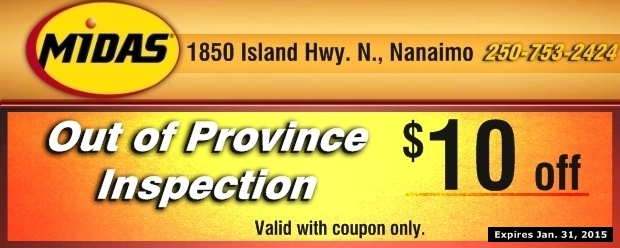 Oil Change And Tire Rotation >> Out Of Province Vehicle Inspection $10.00 Off at Midas - Auto Repair Coupons - Nanaimo BC ...