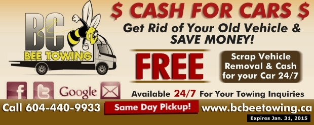 scrap car removal at bc bee towing auto repair coupons vancouver bc. Black Bedroom Furniture Sets. Home Design Ideas