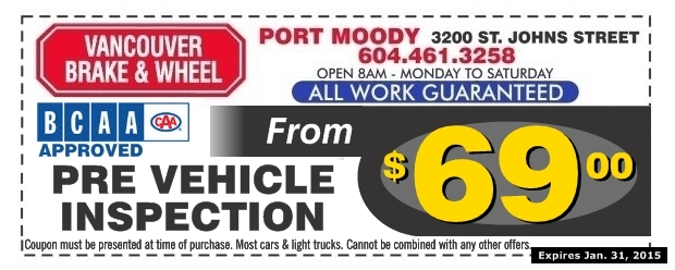 Car Inspection Coupons >> Pre Vehicle Inspection 69 00 At Vancouver Brake Wheel Auto