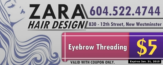 photo regarding Zara Printable Coupons called Eyebrow Threading $5.00 at Zara Hair Design and style - Exercise