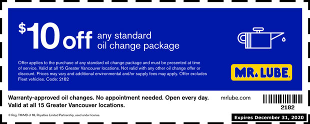 standard oil change  8 00 off at mr  lube