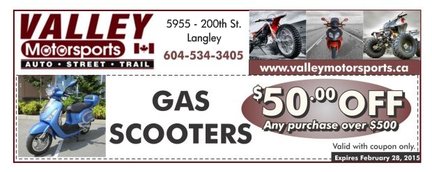 photograph about Printable Gas Coupons titled Fuel Scooters $50 Off at Valley Engine Sporting activities - Purchasing