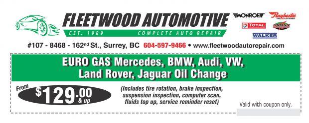Jaguar oil change 119 at onyx automotive auto repair for Mercedes benz oil change coupon