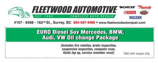 BMW SUV Diesel Oil Change at Fleetwood Automotive - Auto Repair Coupons - Surrey BC - CouponsBC.ca