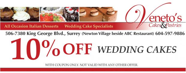 Wedding Cakes 10 Off At Veneto S Cakes Pastries Restaurant Coupons Newton Bc Couponsbc Ca
