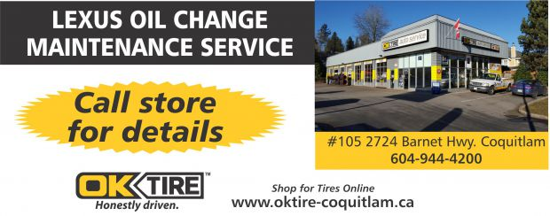 Lexus Oil Change Maintenance Service $119 At OK Tire   Auto Repair Coupons    Coquitlam BC   CouponsBC.ca
