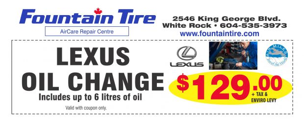 lexus oil change at fountain tire auto repair coupons white rock south surrey bc. Black Bedroom Furniture Sets. Home Design Ideas