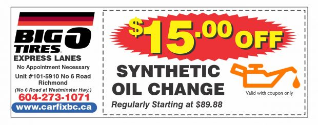 Synthetic Oil Change Coupons >> Synthetic Oil Change 15 00 Off At Big O Tires Express Lanes
