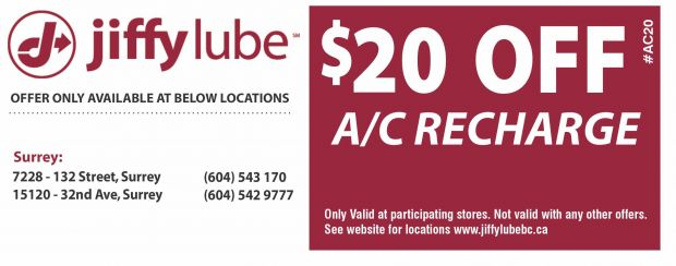 photograph relating to Jiffy Lube Coupons Printable named AC Recharge $20.00 Off at Jiffy Lube - Vehicle Repair service Discount codes