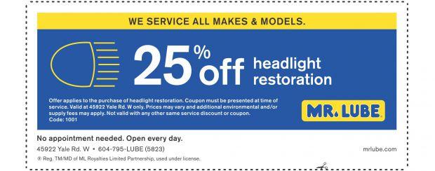 Headlight Restoration 25% Off at Mr  Lube - Auto Repair
