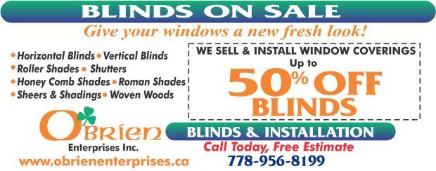 window treatments up to 50 off at o 39 brien enterprises inc. Black Bedroom Furniture Sets. Home Design Ideas