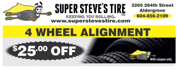 Tire Alignment Coupon >> 4 Wheel Alignment 25 00 Off At Super Steves Tire Ltd Auto Repair