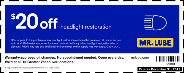 $20 00 Off Headlight Restoration Service at Mr  Lube - Auto