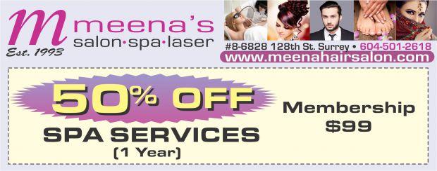 Spa Services 50% Off at Meena's Salon Spa Laser - Health