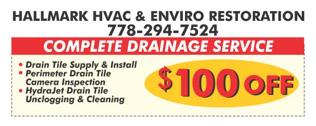 image about Hallmark Printable Coupons named Drain Tile Deliver Put in $100 Off at Hallmark HVAC