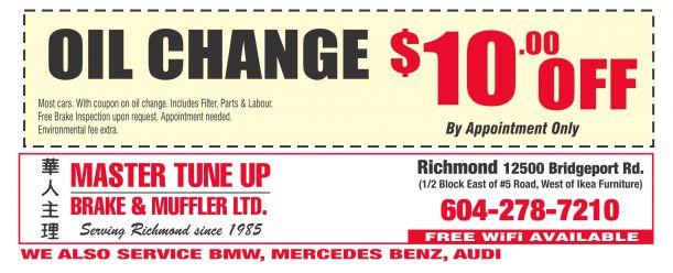 Brake Masters Coupons >> Oil Change 32 95 At Master Tune Up Brake Muffler Auto