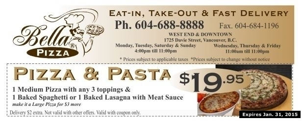 Pizza bella coupons