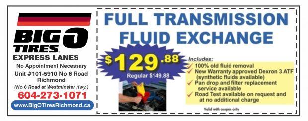 Brake Fluid Flush >> $129.88 Transmission Fluid Exchange at Big O Tires Express ...