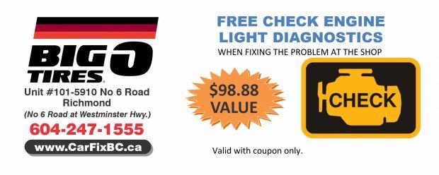 Free Check Engine Light Diagnostics At Big O Tires   Auto Repair Coupons    Richmond BC   CouponsBC.ca