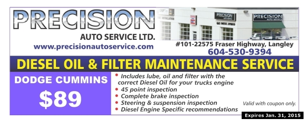 Dodge Cummins Diesel Oil Change $89 00 at Precision Auto Service Ltd