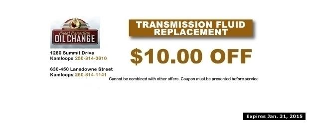 $10 00 Off Transmission Flush at Great Canadian Oil Change